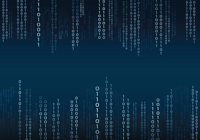 Texto binário azul no fundo do estilo da matriz vetor
