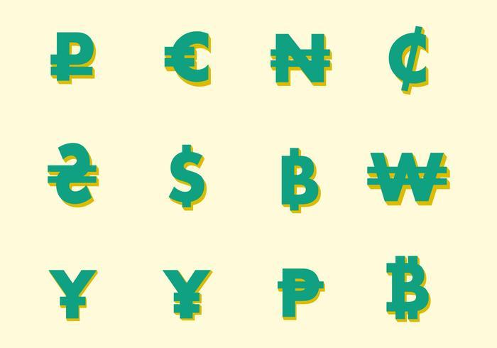Símbolos de moeda do vetor