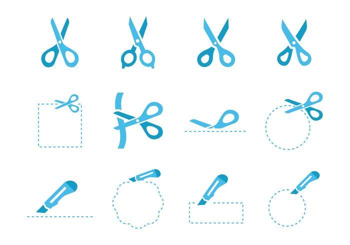 Vetor grátis de ícones de tesoura