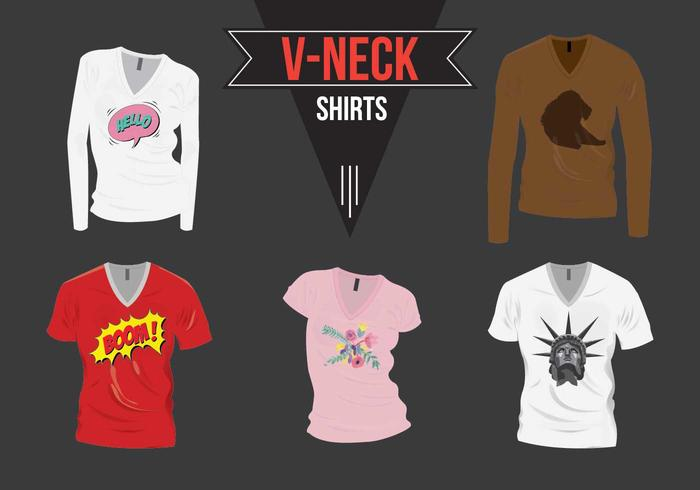 V-Neck Shirt com Design Pack Vector