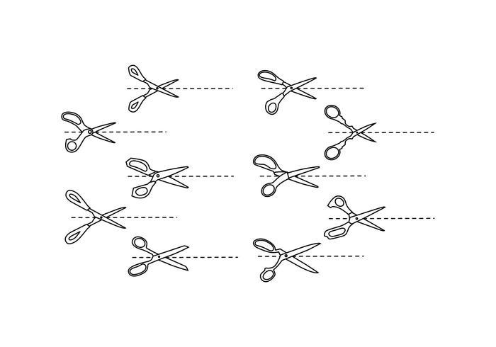 Ícone de tesoura grátis com vetor de linha de corte