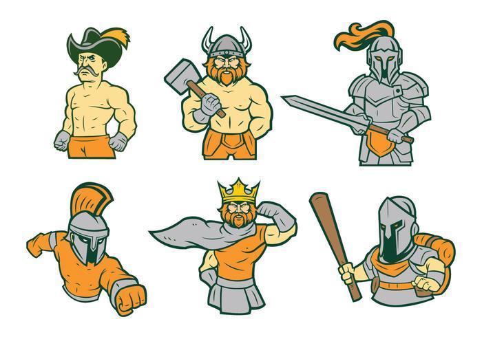 Livre guerreiro mascote vetor 01