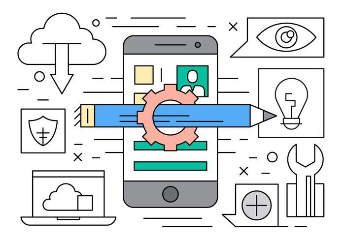 Desenvolvimento linear de software móvel vetor