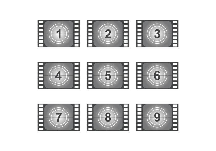 Filmes vintage de contagem regressiva vetor