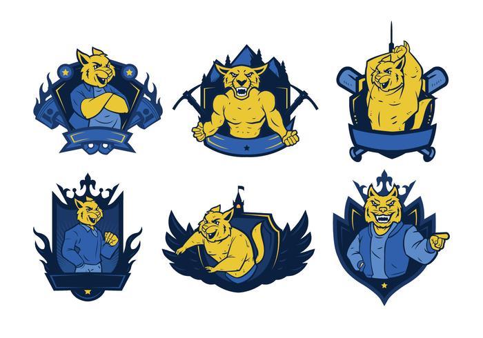 Vetor de mascote de emblema de gato selvagem