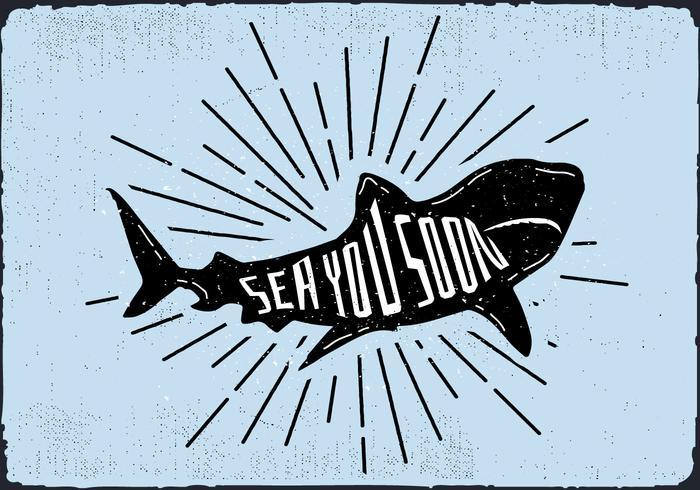 Ilustração vetorial da silhueta do tubarão livre com tipografia vetor
