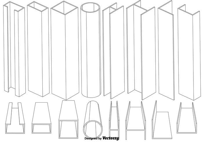 Conjunto de vetores de elementos da viga de linha fina