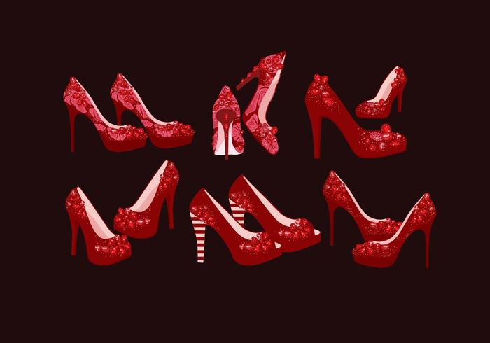 Ruby Slippers com Sparkles Vector