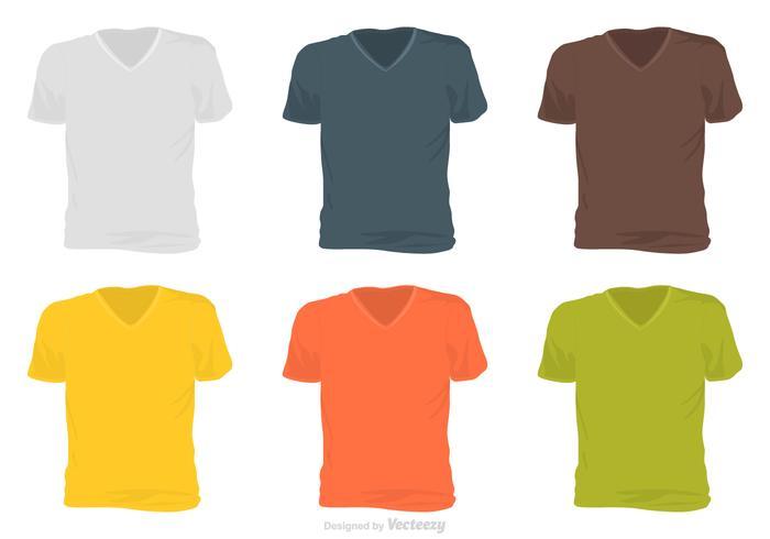 Masculino V Neck Shirt Template Vector