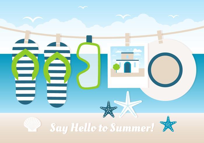 Cartão livre do cartão do verão do verão do projeto vetor