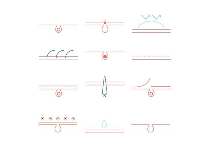 Conjunto de ícones de dermatologia esboçada vetor