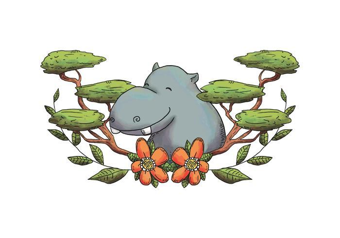 Caráter de aquarela Hippopotamus sorrindo com folhas e flores vetor