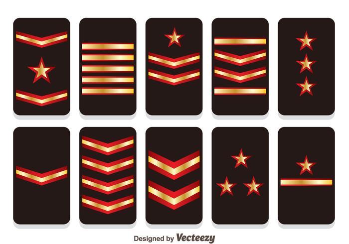 Insígnias insígnias vetores de classificação militar