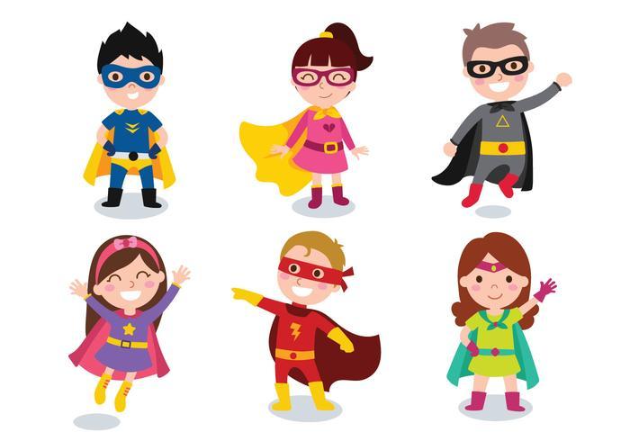Crianças Meninas e meninas vestindo trajes de super-heróis vetor