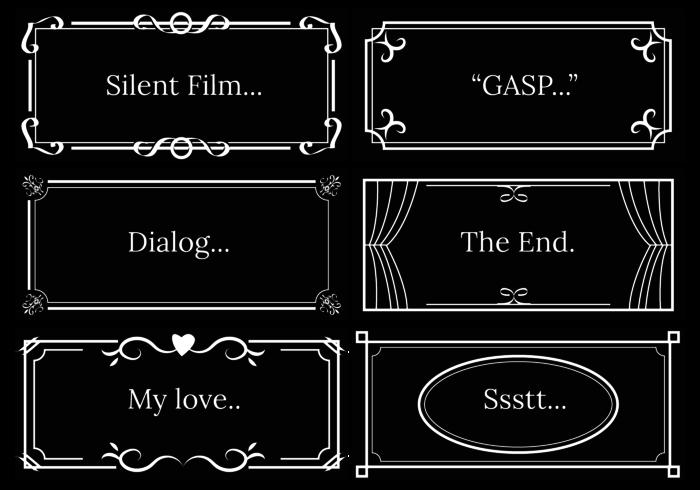 Vetor de modelo de diálogo de filme silencioso