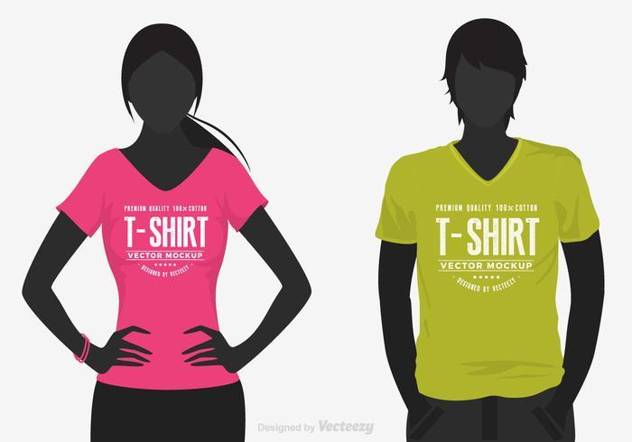 Vetor do modelo da camisa do pescoço da fêmea e do homem V