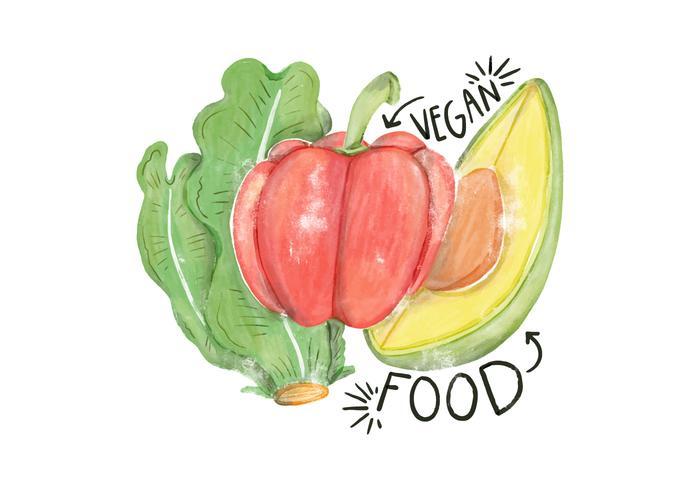 Ilustração da aguarela Alface, abacate e pimenta vetor