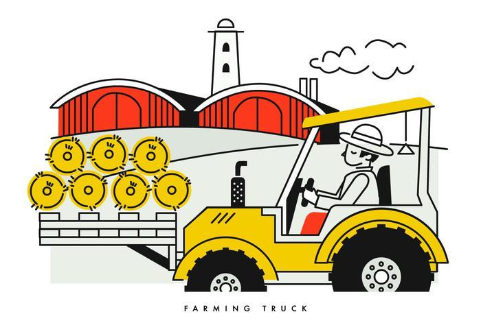 Camponês, dirigindo, colheita, caminhão, vetorial, Ilustração vetor