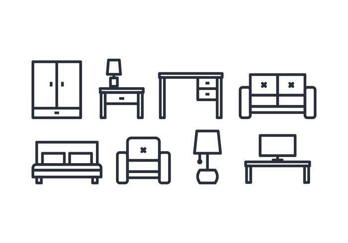 Ícones de móveis vetor