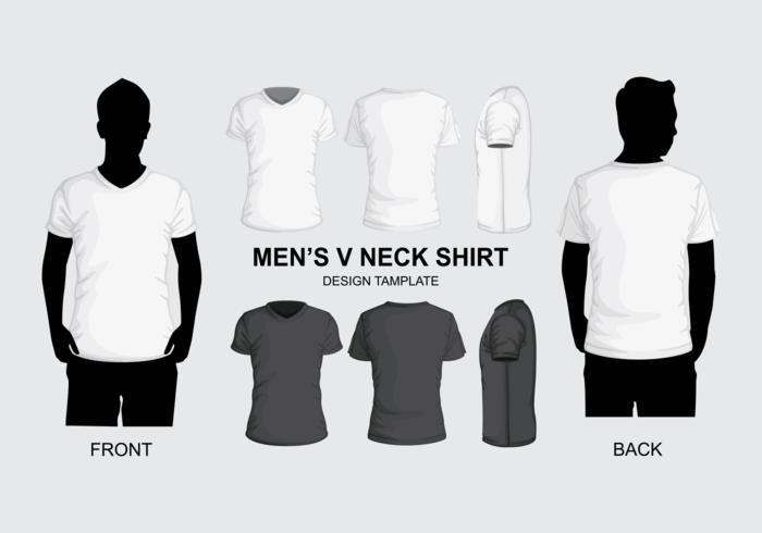 Molde da camisa do pescoço do V dos homens vetor