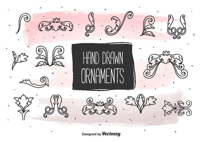 Ornamentos desenhados à mão do vintage vetor