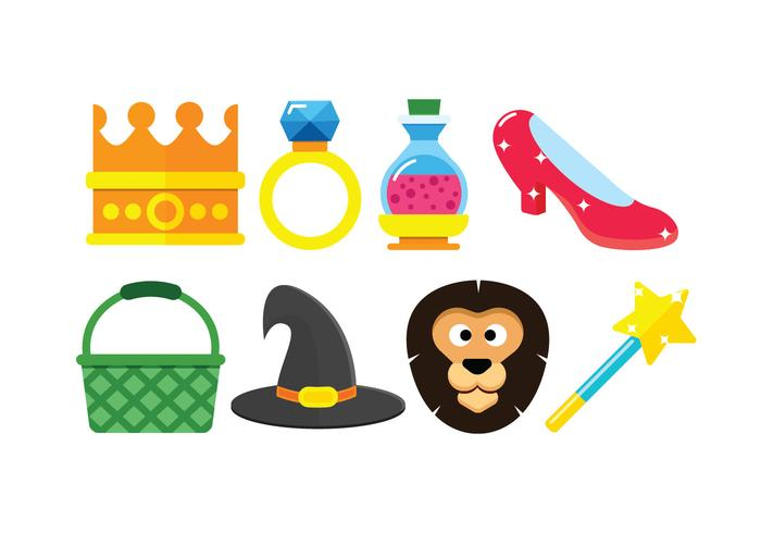 Wizard of oz set icons vector