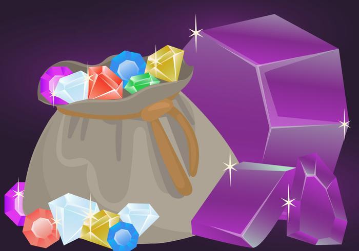 Vetores de pedra de cristal de quartzo