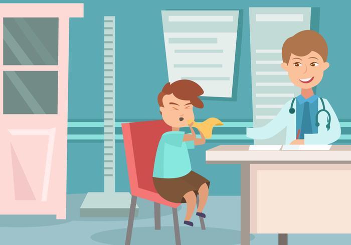 Pediatra com um vetor de criança