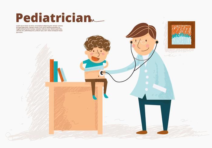 Médico pediatra com ilustração vetorial de crianças vetor