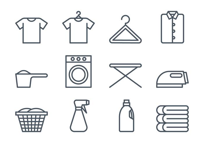 Conjunto de ícones de lavanderia vetor