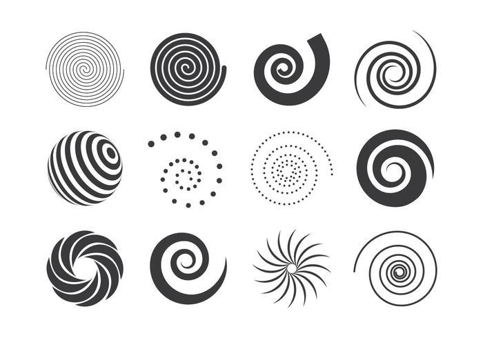 Coleção de elementos em espiral em preto e branco vetor