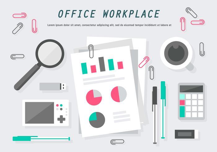 Ilustração plana livre do vetor do escritório plano do local de trabalho