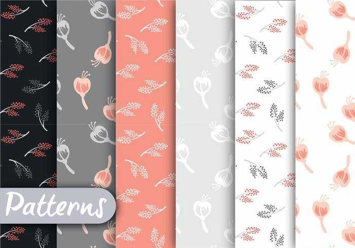 Conjunto de padrões de coral e cinza macios vetor