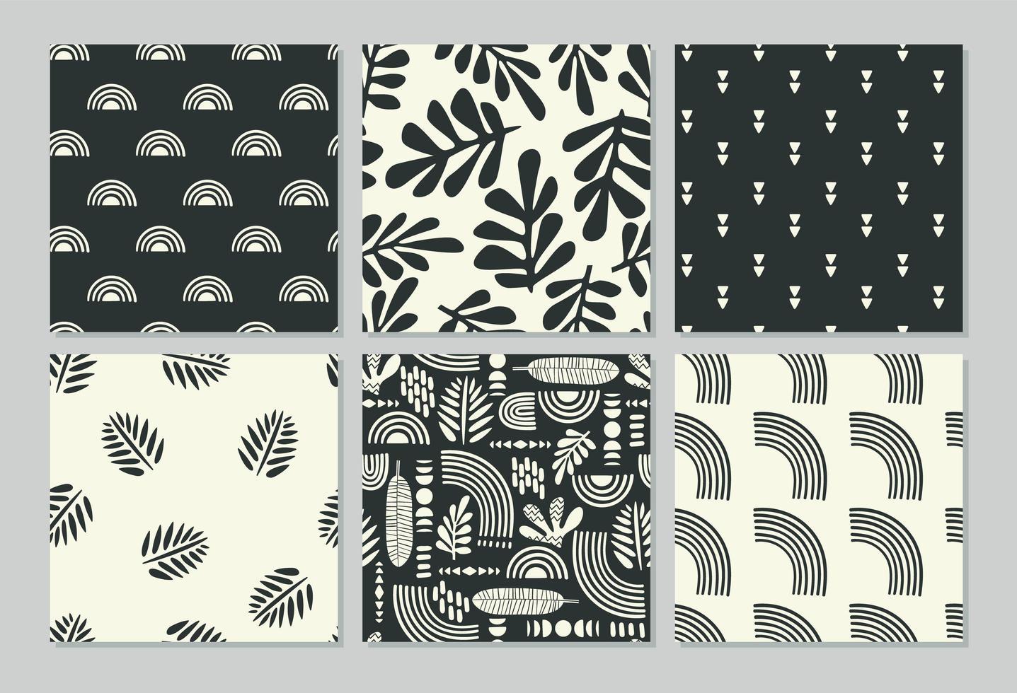 padrões sem costura artísticos com folhas abstratas vetor