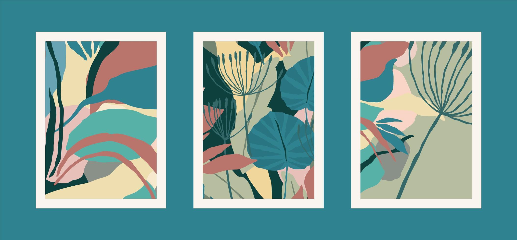 coleção de gravuras de arte com folhas abstratas vetor