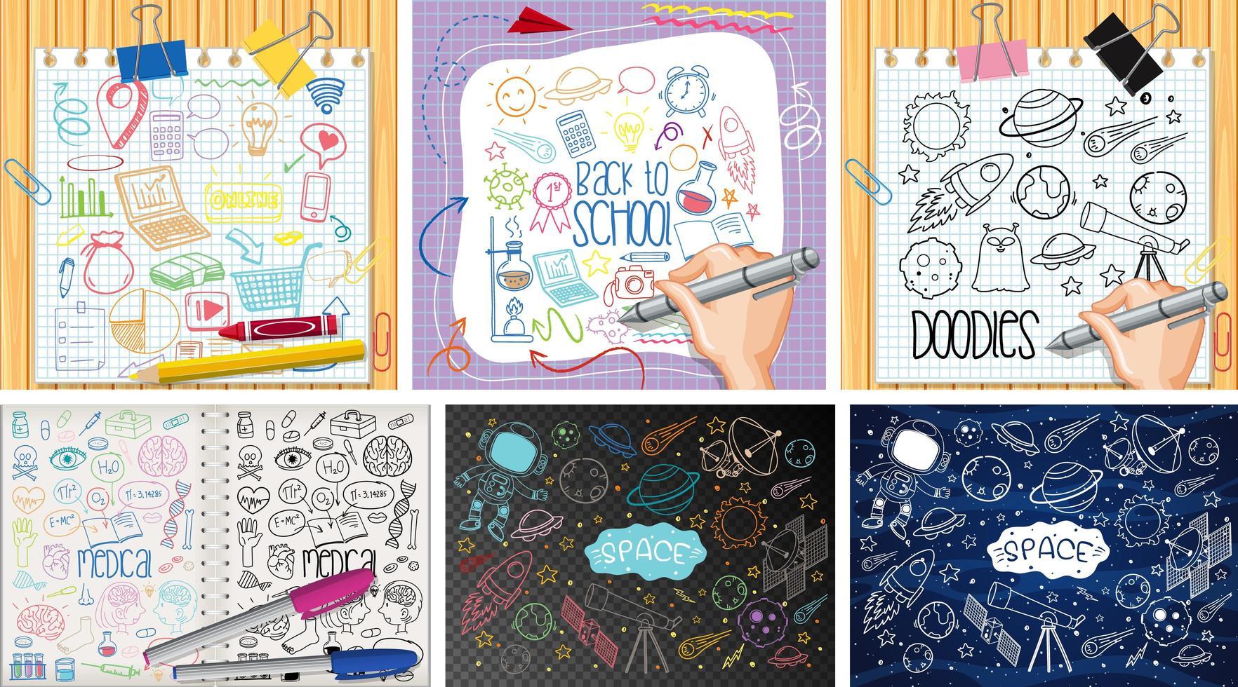 conjunto de objeto colorido e símbolo desenhado à mão vetor