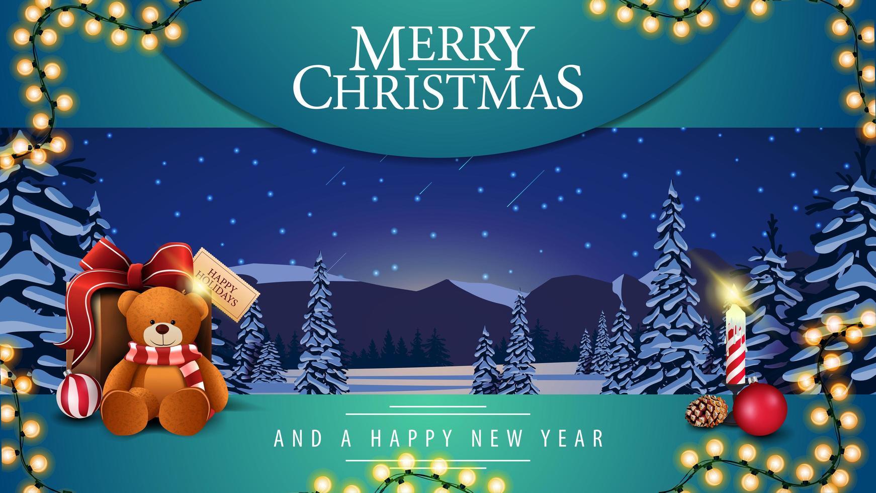 feliz natal e um feliz ano novo postal vetor