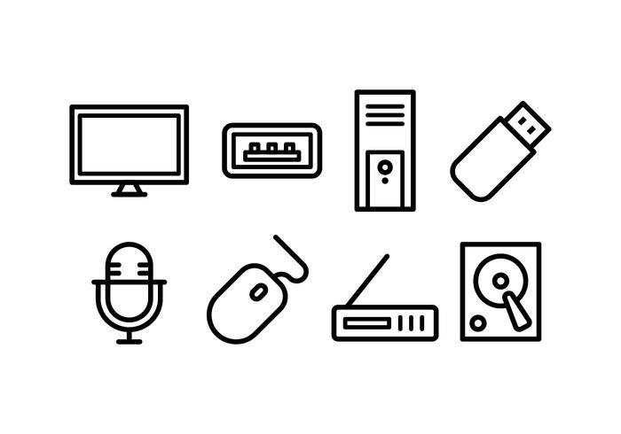 Pacote de ícones de acessórios de computador vetor