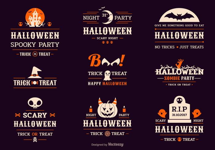 Etiquetas de tipografia de celebração de Halloween vetor