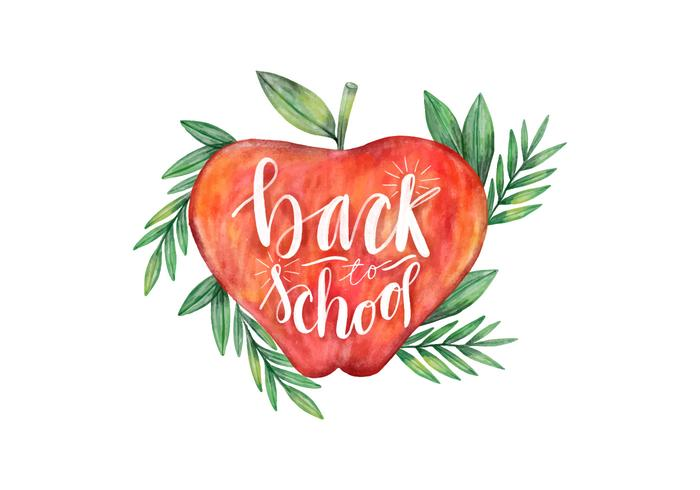 Back To School Watercolor Apple com vetor de folhas