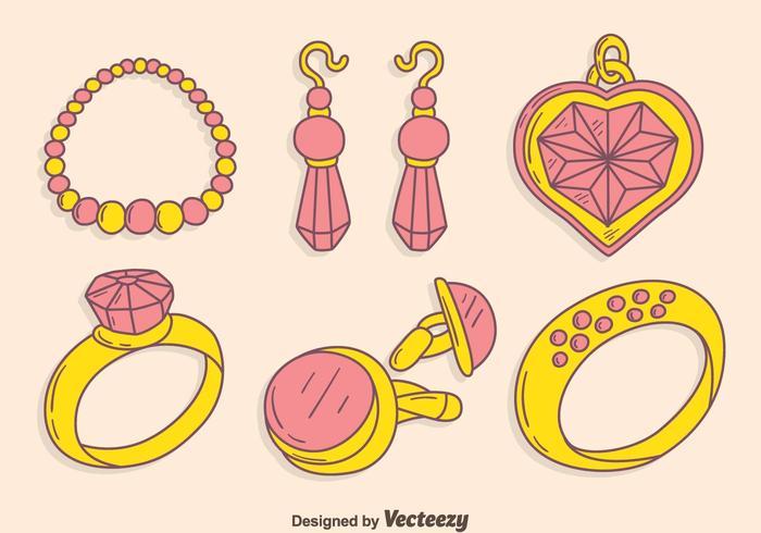 Vector de coleção de jóias desenhadas à mão