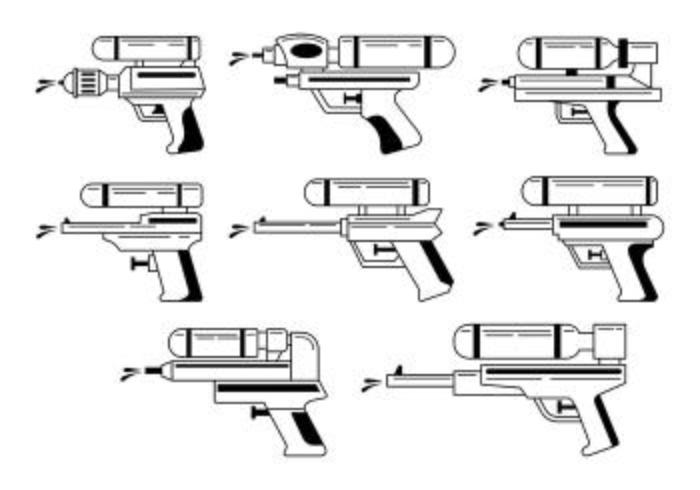 Conjunto de ícones de Watergun vetor