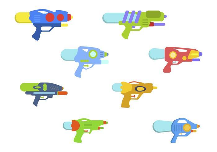 Vetores de pistola de água plana