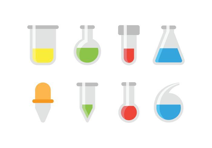 Ícones de teste químico e de vidro vetor