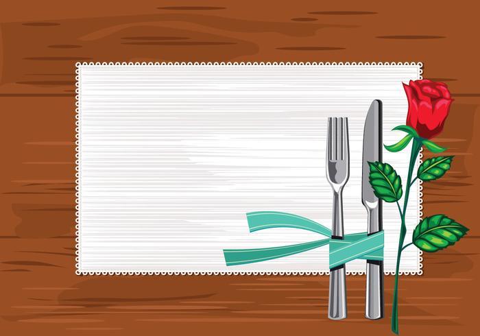 Molde perto da placa com facas e garfo e um guardanapo na mesa vetor