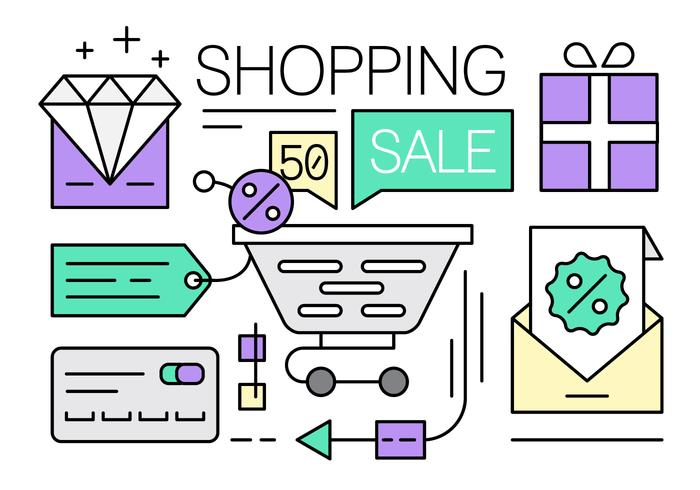 Ícones gratuitos de compras on-line vetor