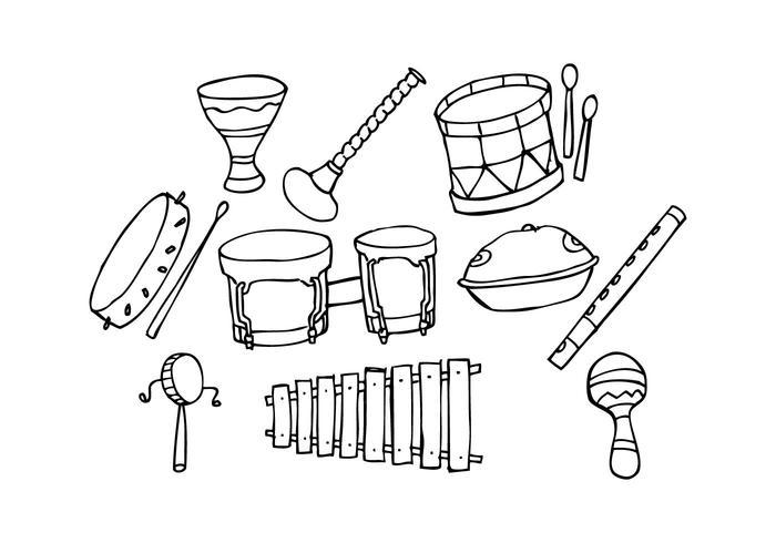 Ícone gratuito da música tradicional Vector desenhado à mão