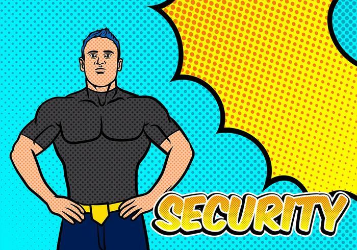 segurança do bouncer pop art background vetor