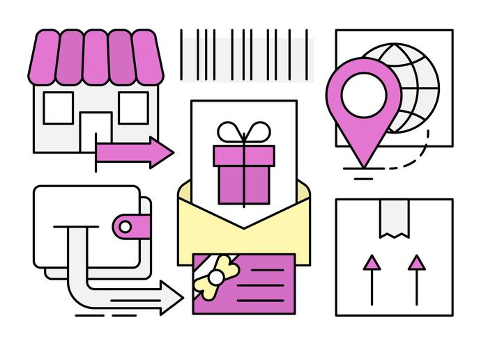 Presente Linear Gift Card vetor