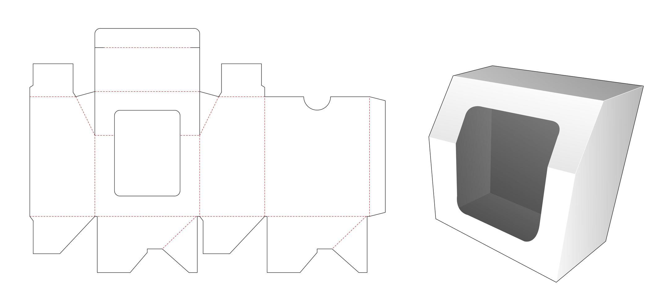 caixa de presente chanfrada com molde de janela cortada vetor